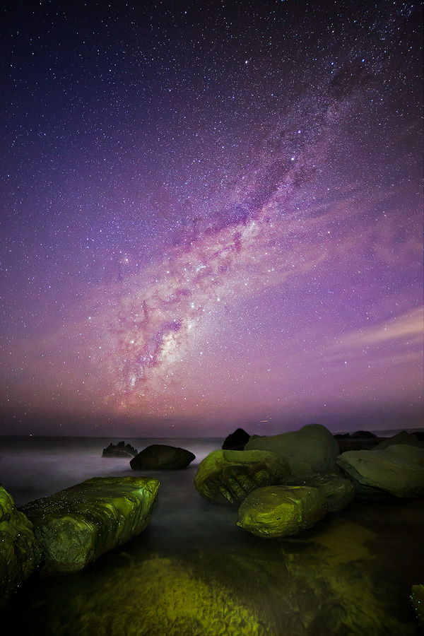 The Milky Way rises above Forresters Beach on the NSW Central Coast