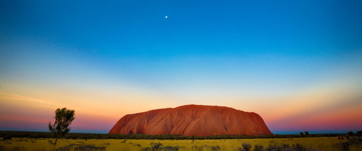 Anti-crepuscular rays shine from Uluru at sunset in the Red Centre of Australia