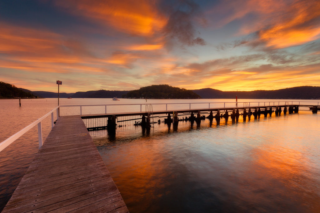 Hawkesbury sunrise over McKell Park baths at Brooklyn - Dangar Island in the distance